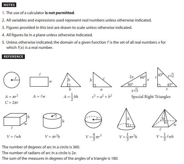 SAT Math Test Formulae