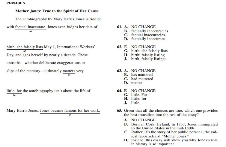 ACT 1572,English Q 61-65