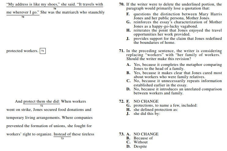 ACT 1572,English Q 70-73